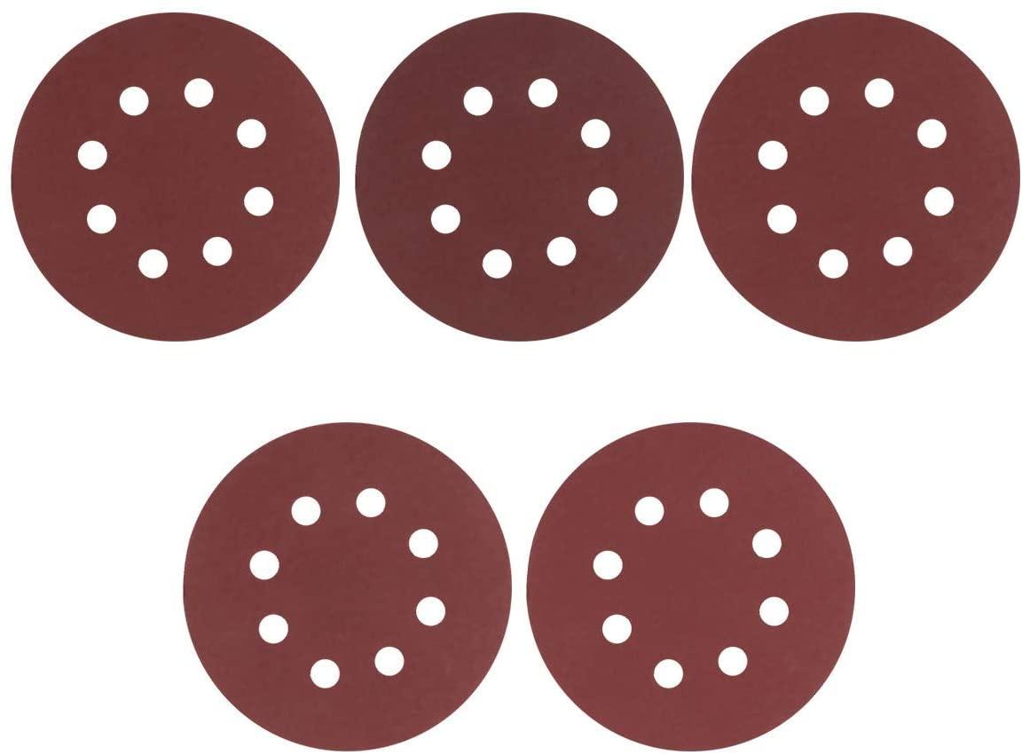 Freebily 30pcs 5 Inch 8 Holes Sanding Discs Sandpaper Assorted 60/80/120/180/240 Grits Hook and Loop Aluminum Oxide Sandpaper for Random Orbital Sander Reddish Brown One Size