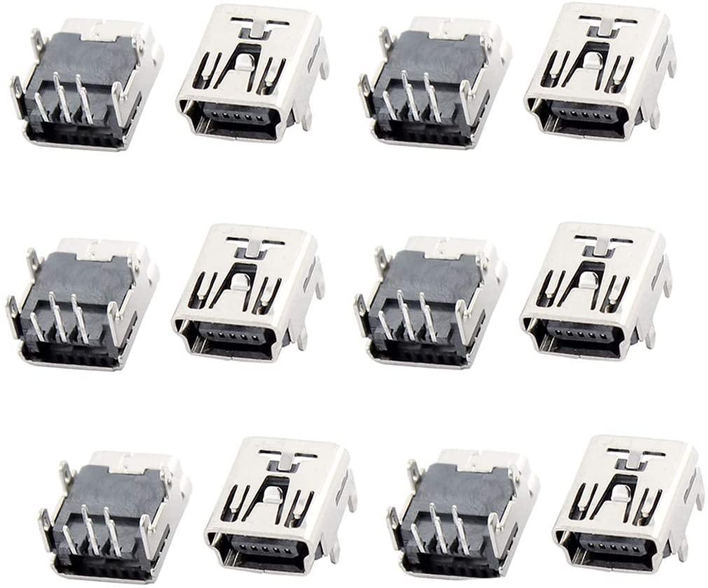 QMseller 12 PcsMini USB Type B Female Socket 5-Pin Right Angle Dip Jack Connector