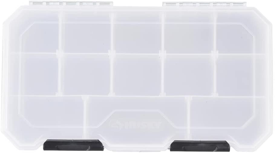 Husky 12 in. 13-Compartment Heavy-Duty Polymer Storage Bin Small Parts Organizer