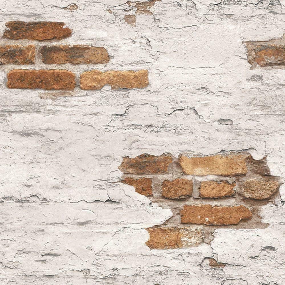 G45352 - Grunge Paint Brickwork Beige Terracotta Galerie Wallpaper