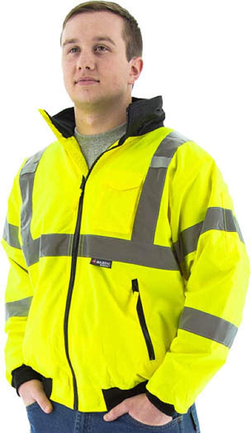 Majestic 75-1301 High Visibility Waterproof Winter Bomber Jacket, 2X - 2 Xtra Large Neon Green
