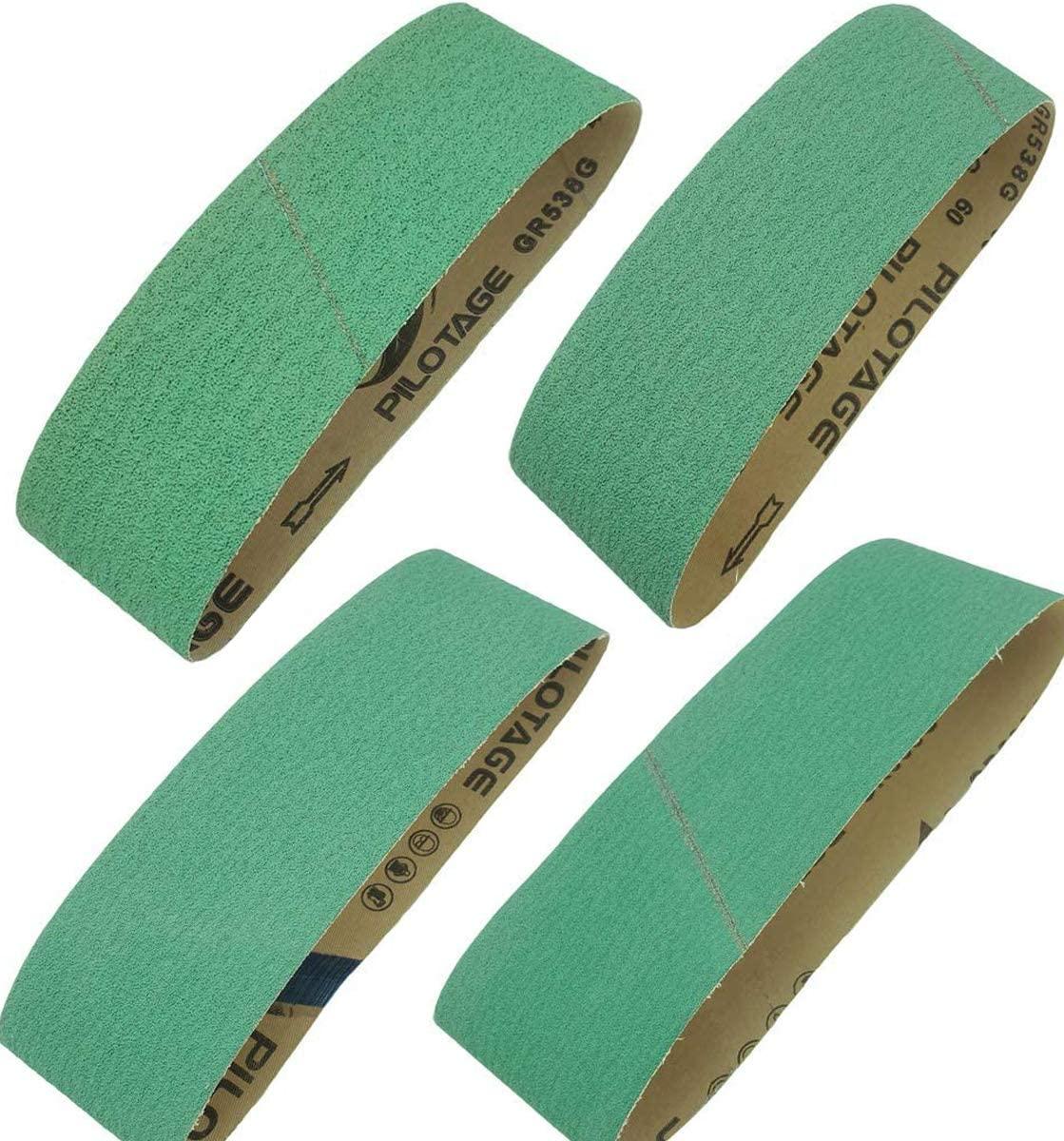 Sackorange 4 Inch x 36 Inch Metal Grinding Zirconia Sanding Belts - One Each of 40 80 100 and 120 Grits Sanding Belt, 4 Pack (4 X 36 Inch)