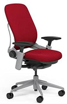 Steelcase Leap Desk Chair in Buzz2 Rouge Red Fabric - Highly Adjustable Arms - Platinum Frame and Base - Standard Carpet Casters