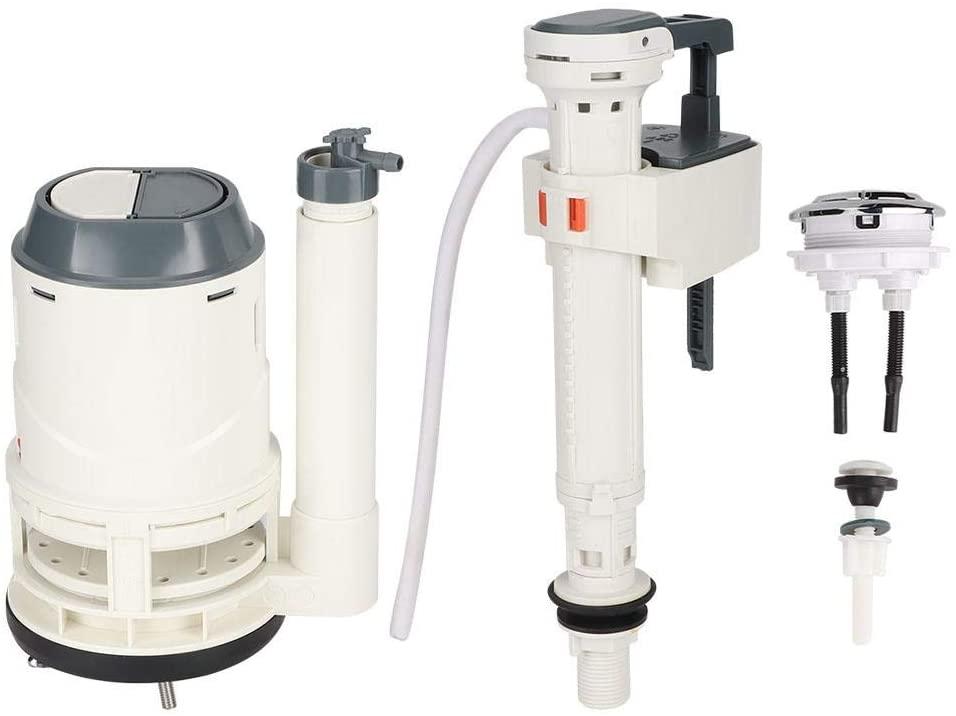 Strnek Toilet Canister Flush Valve Kit,Large Diameter Drain Valve kit,Toilet Cistern Dual Flush Push Button Valve 25cm Height Fit for Drain Diameter 76mm