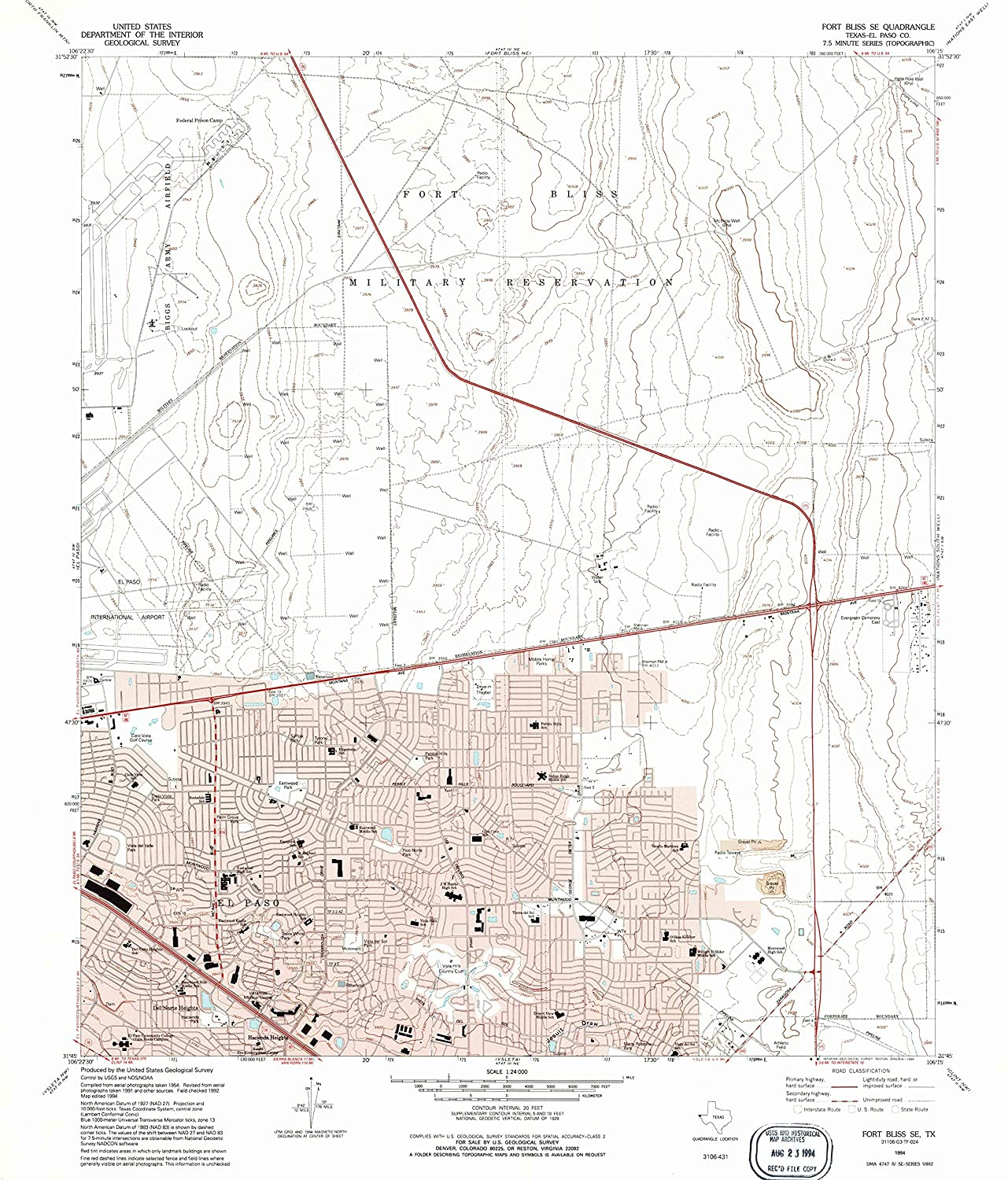 Map Print - Fort Bliss SE, Texas (1994), 1:24000 Scale - 24