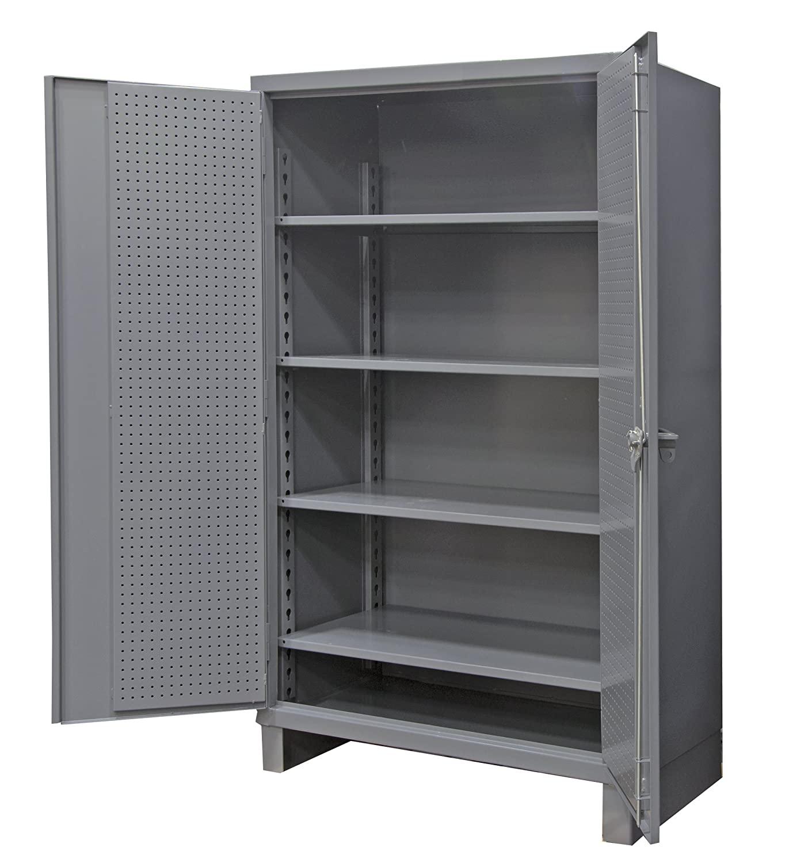 Durham Extra Heavy Duty Welded 12 Gauge Steel Pegboard and Shelf Cabinet, HDCP243678-4S95, 1900 lbs Shelf Capacity, 24
