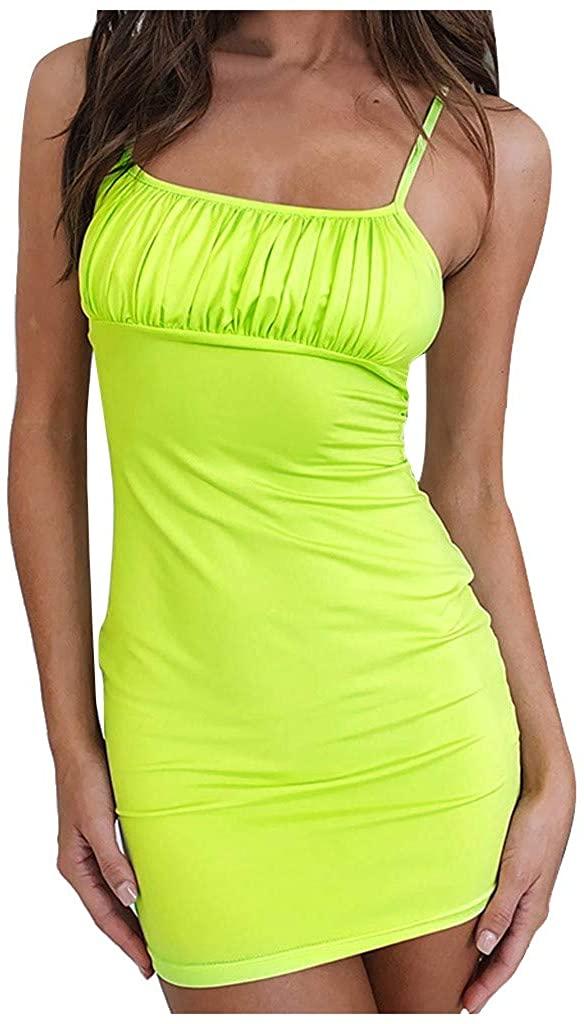 WENOVL Summer Dresses,Women Sexy Strapless Cotton Solid Color Dress Summer Sling Sleeveless Midi Dress