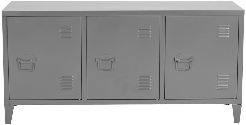 FurnitureR Storage Locker 3 Doors 6 Shelves Teens Bedroom Video Game Furniture Books Orgnizer