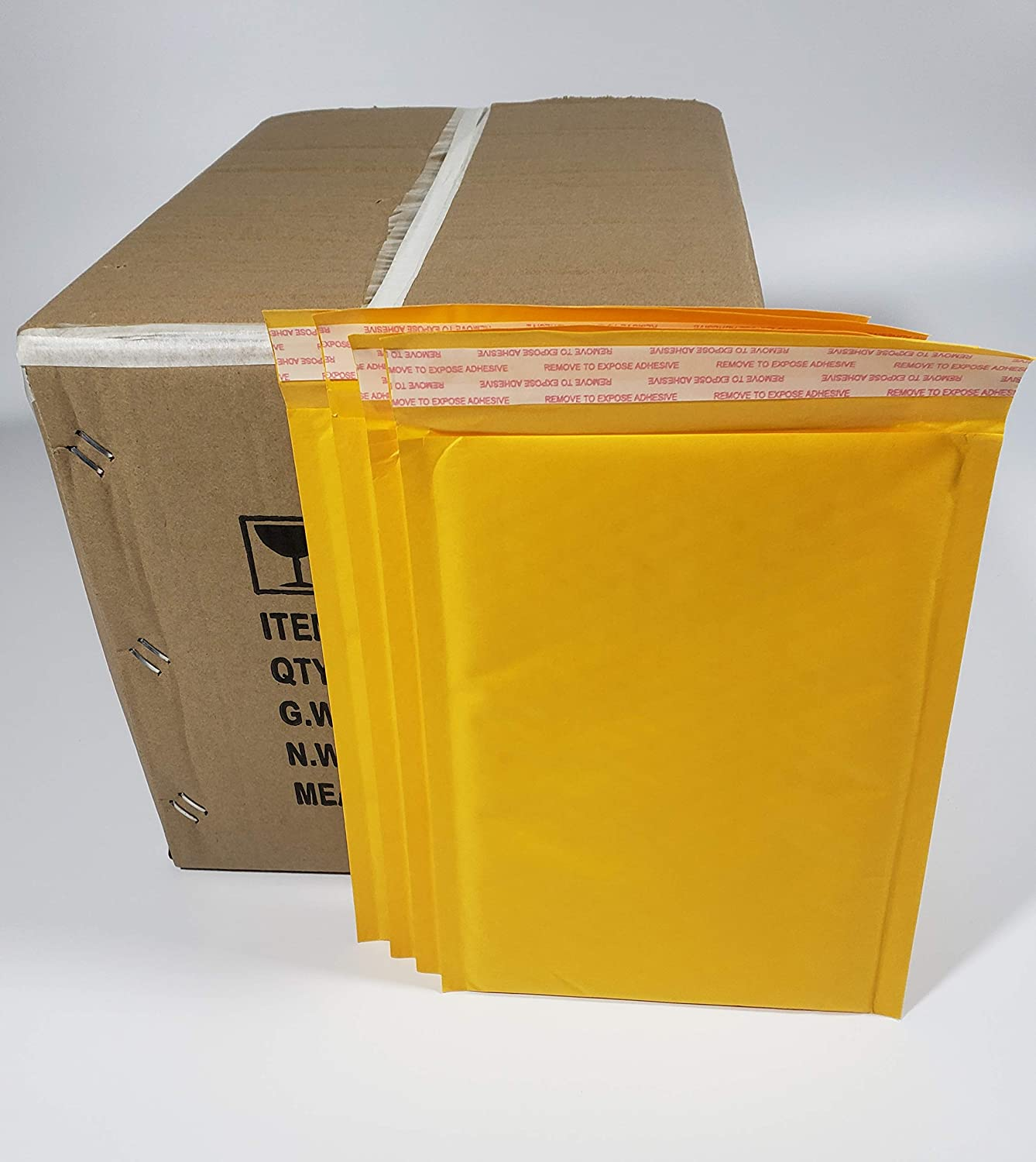 Pack of 90 Pieces in One Box 10 x 12 Inches Outside Size Yellow Kraft Paper Padded Bubble Mailers Envelopes