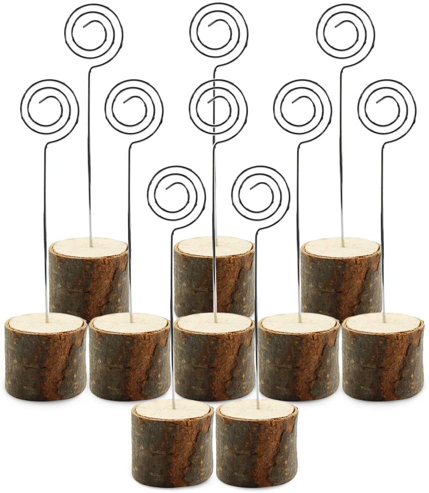 Wpxmer 10 Pack Real Wood Table Card Holders Photo Clip Holder Stand Number Holders for Weddings,Restaurant