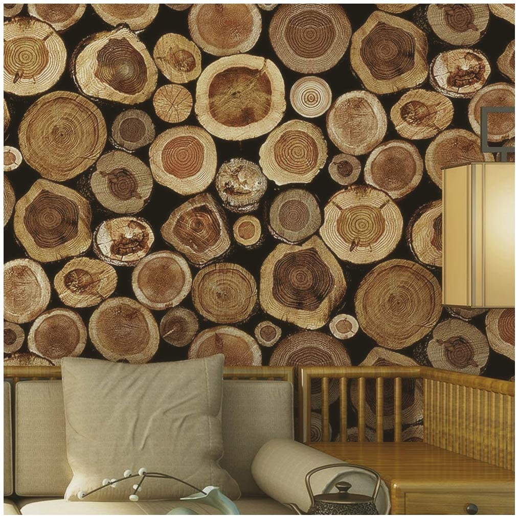 Blooming Wall Vintage Unique Wood Growth Ring Wallpaper Roll Wall Paper for Livingroom Bedroom Kitchen 20.8