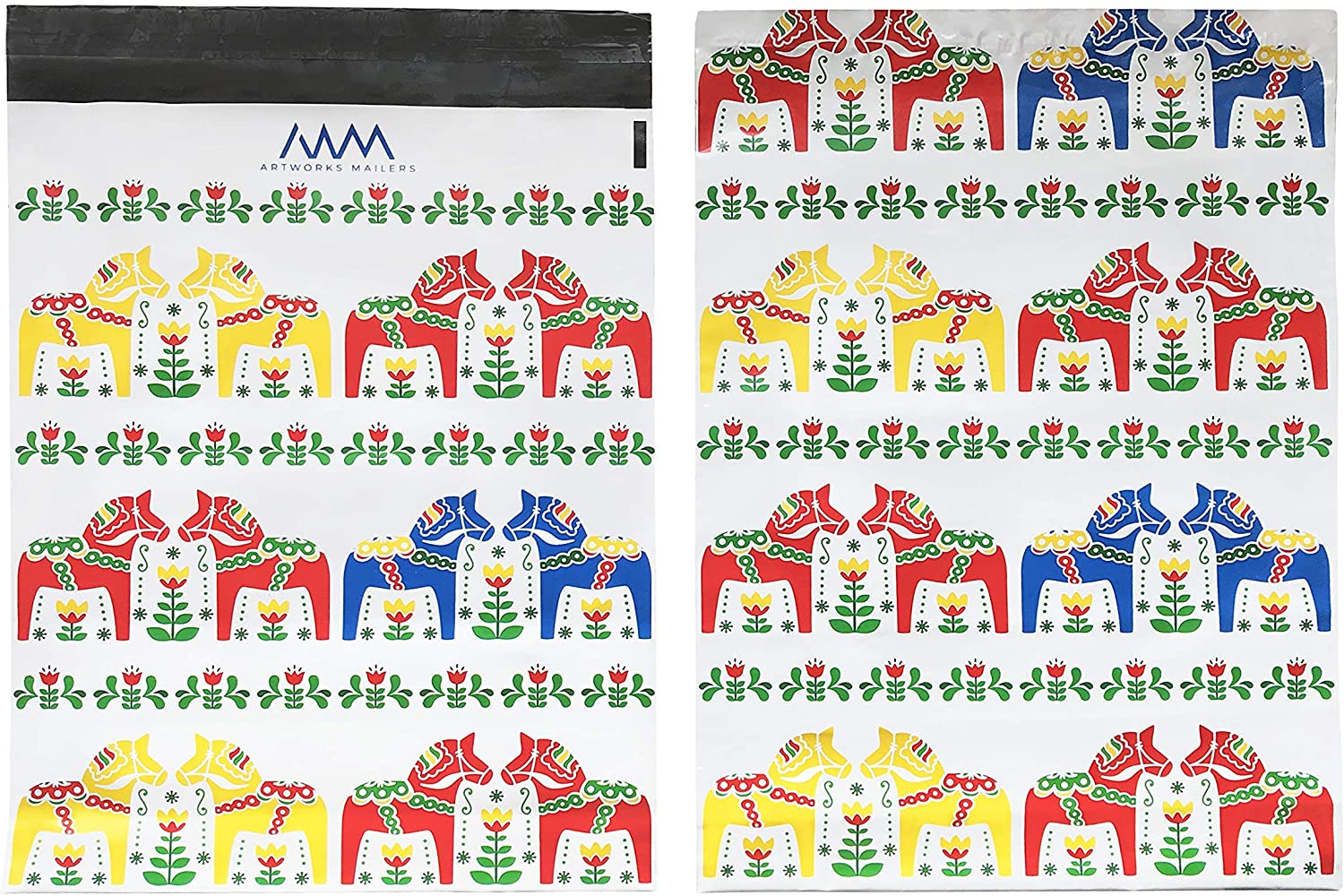 "ArtWorks Mailers 10 X 13"" Premium Poly Mailers 100 Pack Designer Shipping & Mailing Bags Durable Self Sealing Mailers Unpadded Custom Scandinavian Folk Art Dala Horse Flower Floral Design"