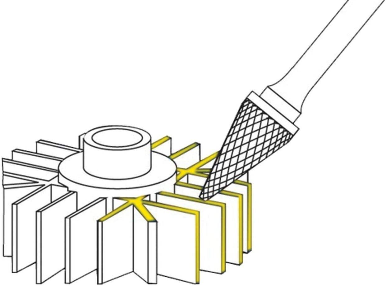 Solid Carbide Burs Cone Shape (SM) 1/4 inch Diameter SM1S,Double Cut