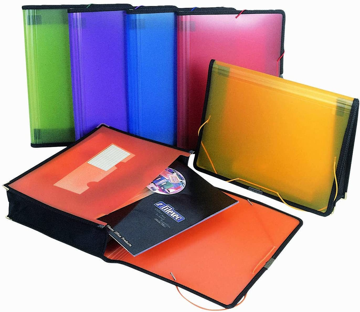 Filexec Single Pocket Expanding File, Letter, Elastic Closure, Assorted, Pack of 6 (50125-3429)