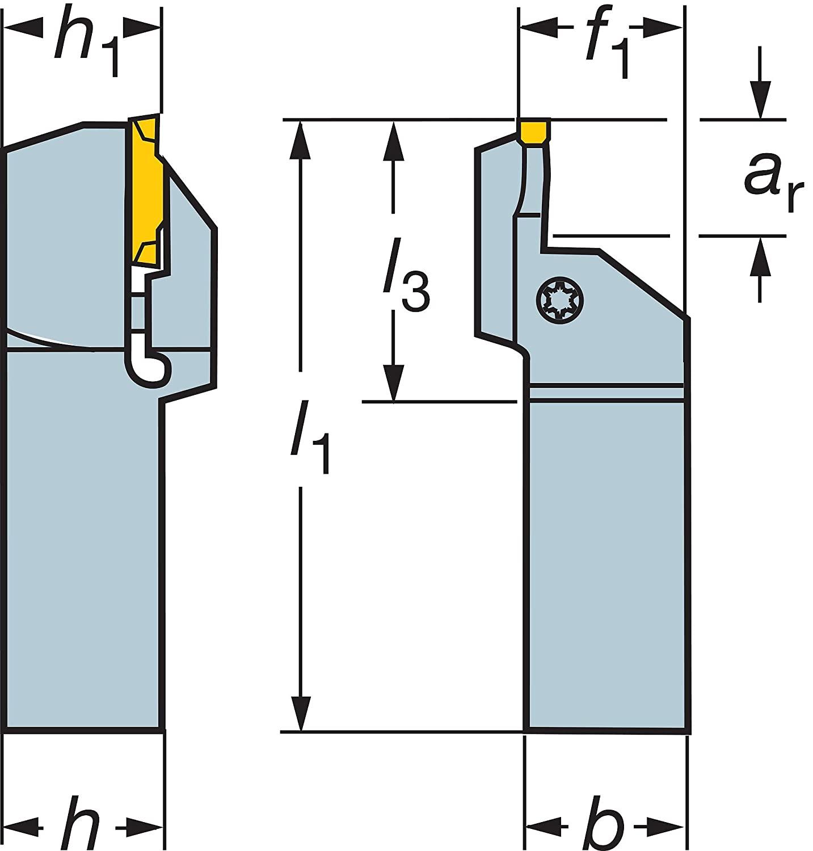 Sandvik Coromant LF123J13-2525B-175BM Steel CoroCut 41641 Shank Tool for Face Grooving Holder, 0.51
