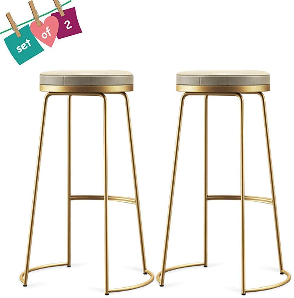 KMMK Desk Chairs,On-Trend Kitchen and Breakfast Barstool Set of 2 Pcs   Bar Counter Chair Makeup Stool   Seat with Round Cushions 45/65/75Cm Tall,Gold,45Cm