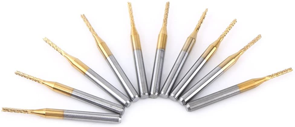 SANON End Mill Sets, 10pcs 1.5mm Cutting Edge End Mill CNC Router PCB Engraving Bit Tungsten Coating 1/8 Shank