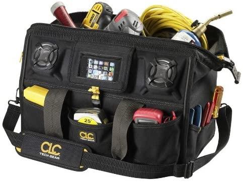 Custom Leathercraft A233 18-Inch 39 Pocket Tech Gear Stereo Speaker Mega Mouth Tool Bag