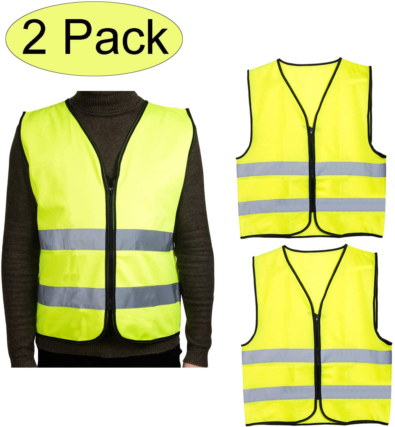 ThreeH Safety Vest with Reflective Strips High Visibility Zipper Front for Work, Running, Walking, Jogging, Cycling SA092 Yellow(2 Pack)
