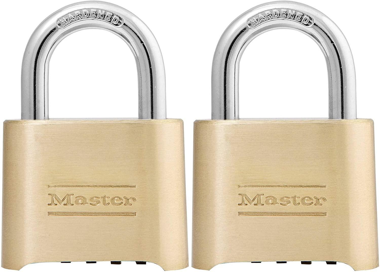 Master Lock 175D Locker Lock Set Your Own Combination Padlock, 2 Pack, Brass Finish