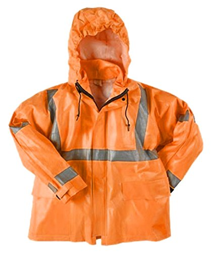 Neese Industries Style #267-AC Dura Arc II PVC/Fire Resistant Woven Modacrylic Class 3 Coat, 48 Long, Tuck-Away-Hood, Extra Large, Fluorescent Orange