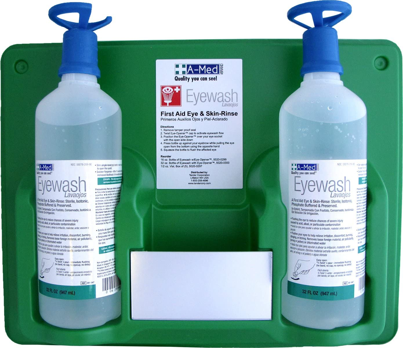 A-Med Eyewash Station with Eye-Opener, 32 Ounce