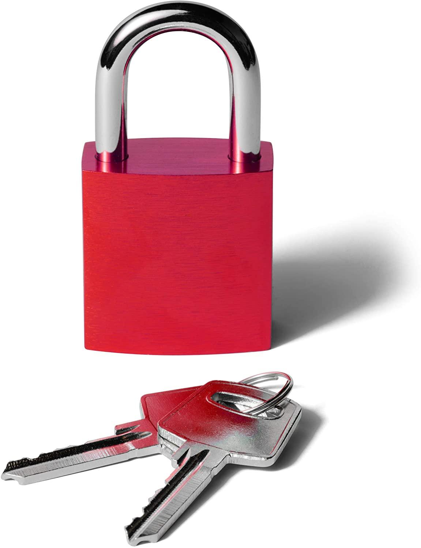 Padlock Aluminum Safety Padlock Keyed Different, Engravable Love Lock (Red)
