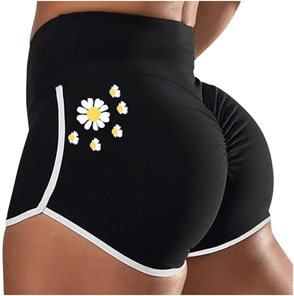Thenxin Women's High Waist Butt Lift Yoga Shorts Tight Workout Fitness Shorts with Daisy Printed