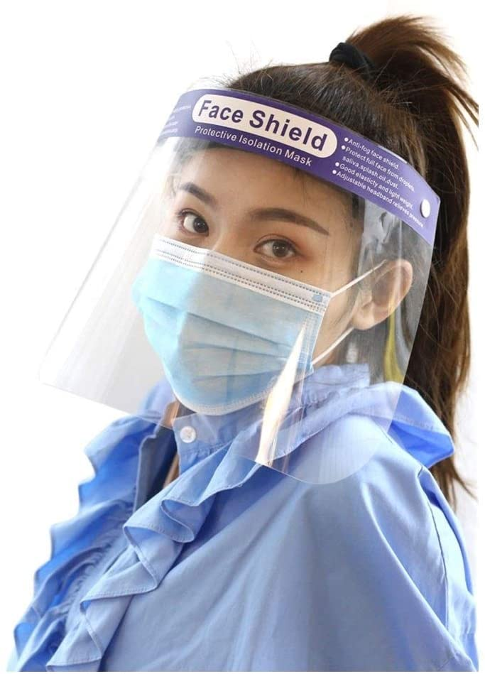 Plastic Safety Mask Reusable Full Cover Transparent Breathable Sun Visor Windproof And Dustproof Cap Cover, With Transparent Protective Film Elastic Band To Protect Eyes And Face (Size : 20pcs)