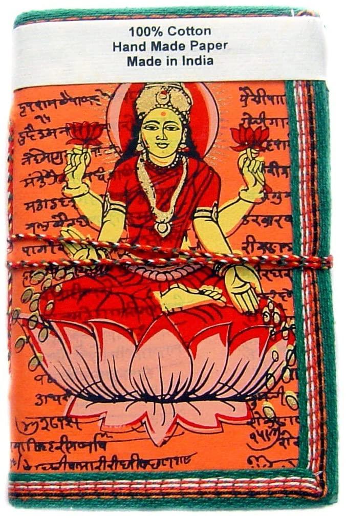 Rastogi Handicrafts Handmade Paper Diary Note Book Planner Journal Orange Laxmi Godess of Money Size - 6x4 Inch