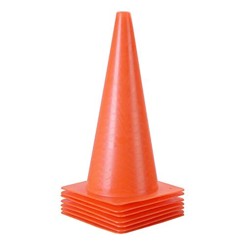 15 inch Traffic Cones, Plastic Training Cones, 7 Pack of Sport Cones for Indoor/Outdoor Activity & Festive Events (Orange)