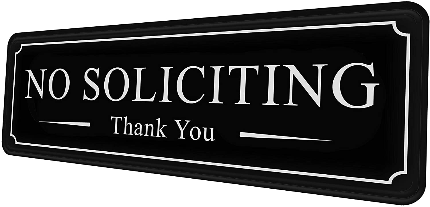 No Soliciting Sign for House Yard Office Door Wall Home and Business — Black White Large Sticker — self-Adhesive 9×3 in — Easy Installation Without Any Tools — Quality Guaranteed by MolnijaPro