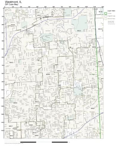 ZIP Code Wall Map of Westmont, IL ZIP Code Map Laminated