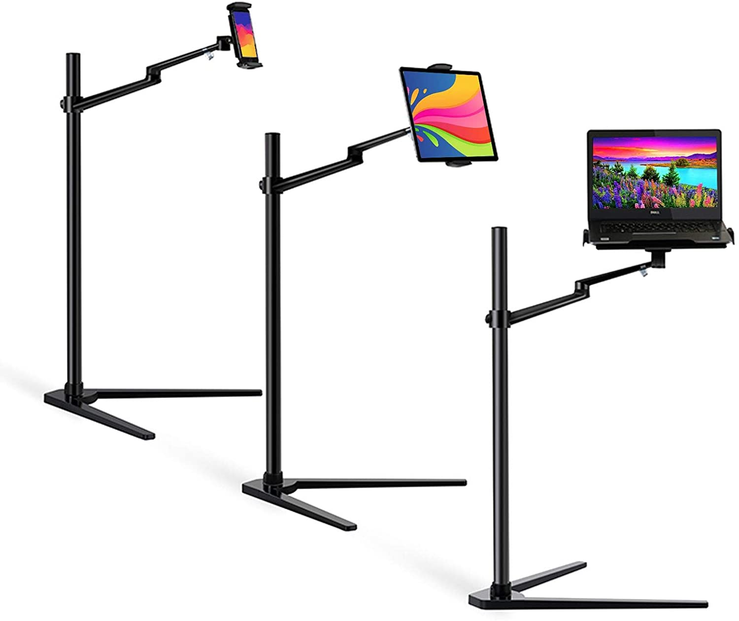 MagicHold 3 in 1 360 Degree Rotating Height Adjustable Laptop Tablet Stand for Bed,Floor,Compatible with Ipad Pro 12.9 Inch, IPAD, MacBook Pro/Air,MS Surface Pro,MS Surface Book