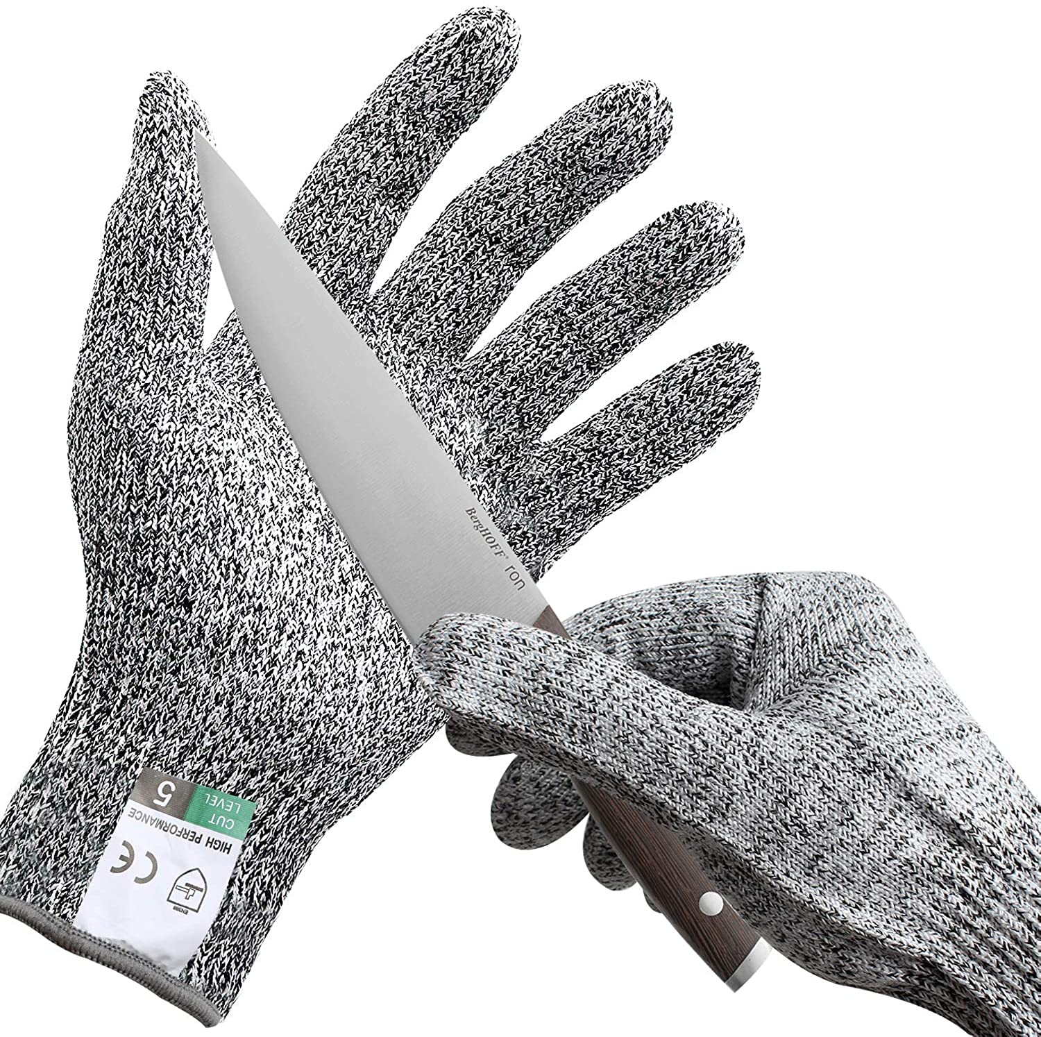 SZOCOOL Cut Resistant Gloves (1 Pair) Food Grade Level 5 Protection, Safety Cutting Gloves for kitchen, woodworkinMg, carving, carpentry, oyster shucking(L)