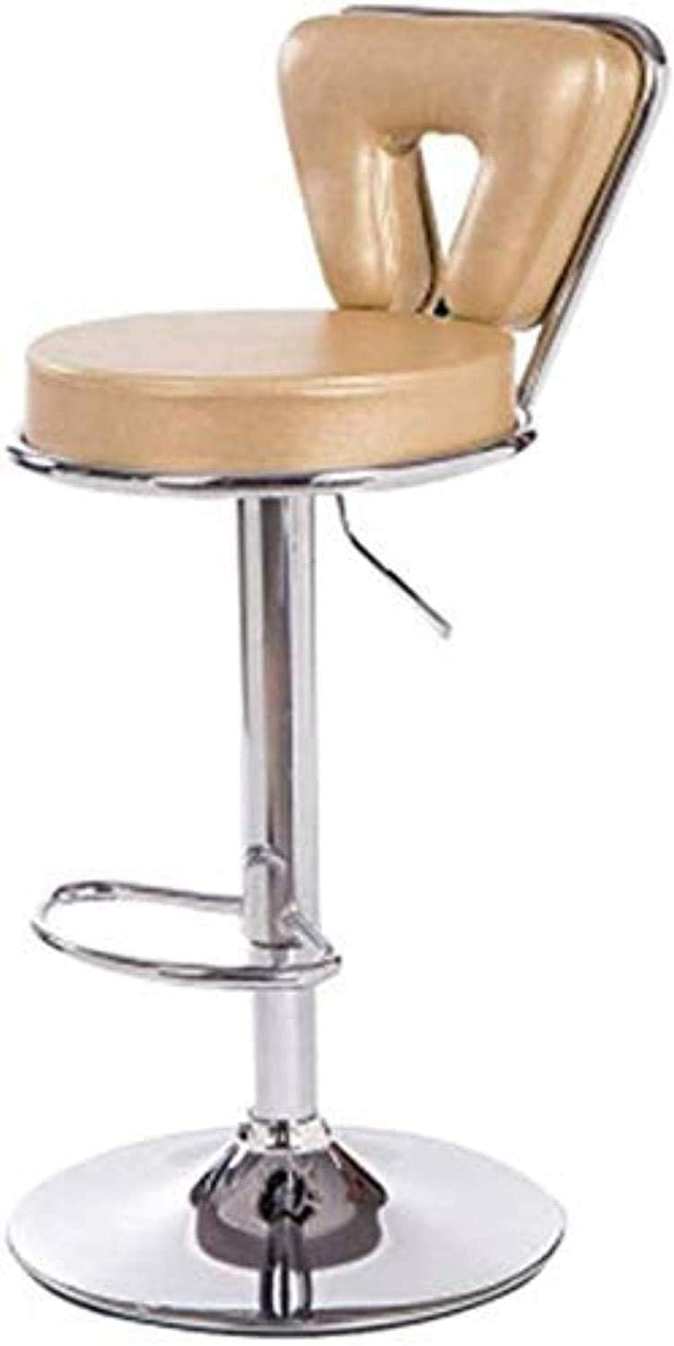 PLLP Bars, Cafes, Restaurant Chairs,Chair Office Chair Bar Chair Bar Chair Leather Bar Stools Kitchen Breakfast Bar Stools Bar Chair for Kitchens Stable Metal Base,Light Yellow,45×41×34Cm,Light Yello