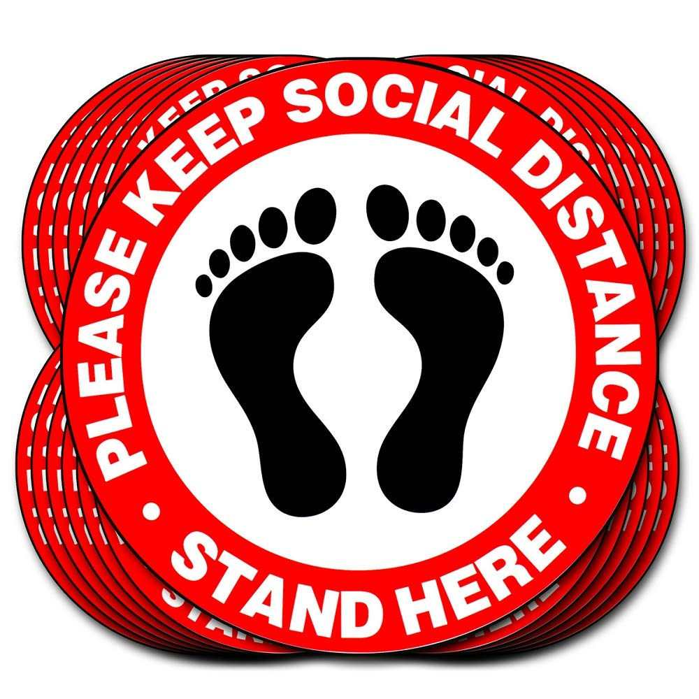 Social Distancing Floor Decals - 10 Pack Keep 6 Feet Apart Safety Social Distancing Sign, 11 inch Anti Slip Floor Marker Stickers (Red)