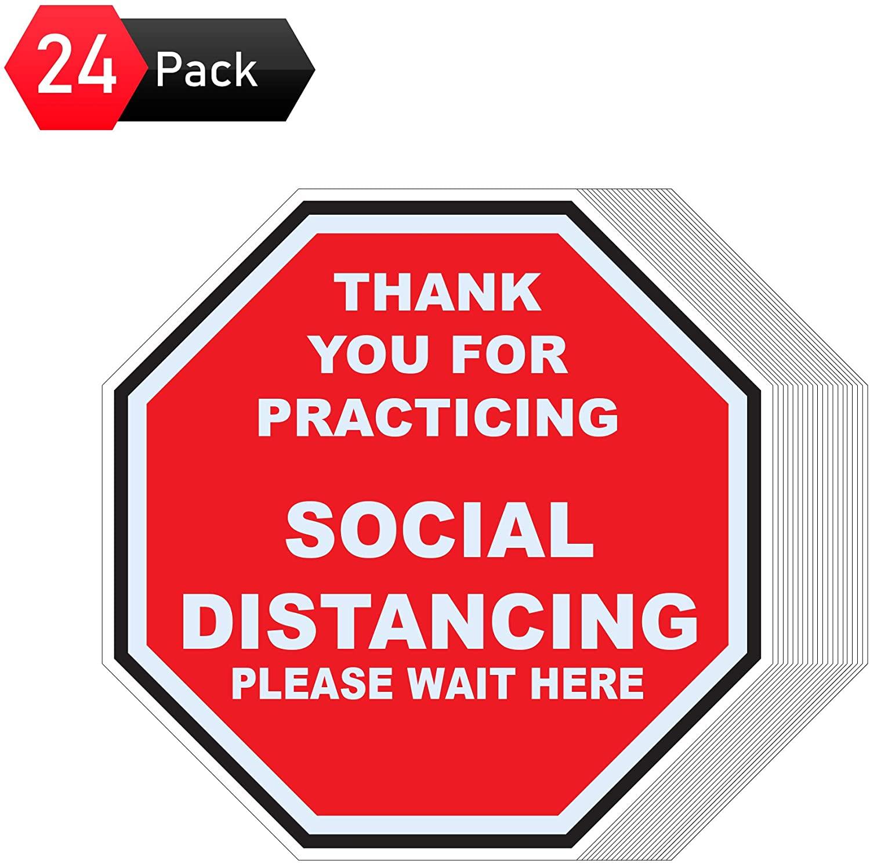 Pack of 24 Social Distancing Floor Decals 8