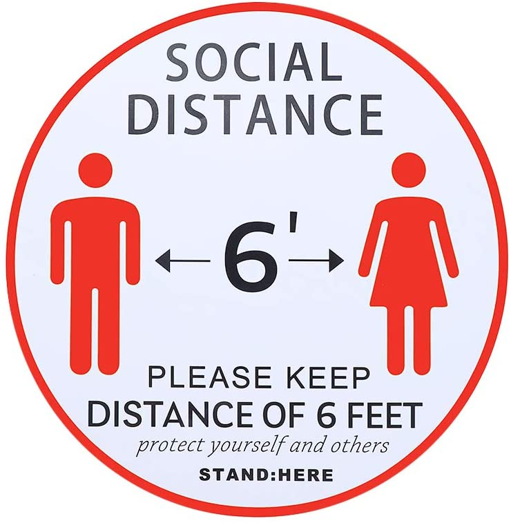 Social Distancing Floor Decals 5 Pack 11-Inch Floor Stickers of Red Waterpro 6 Feet Apart Sticke Social Distancing Sign for Office,Businesses, Restaurants.