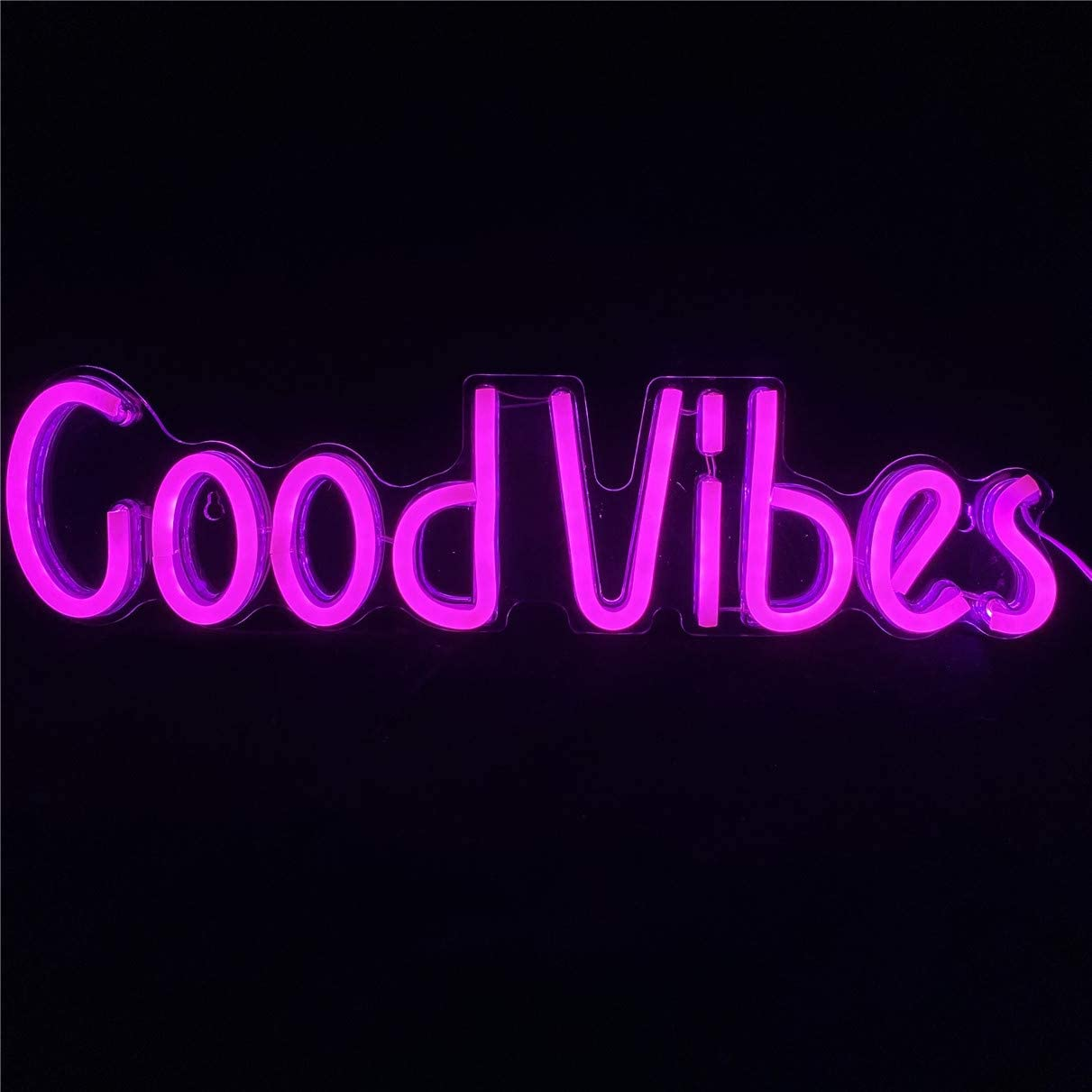 LED Good Vibes Neon Signs Good Vibes Words Neon Lights for Room Wall Decor Light/Lamp Bedroom Beer Bar Pub Hotel Party Restaurant Recreational Game Room Wall Art Decoration(19.6''~4.9'') -Pink