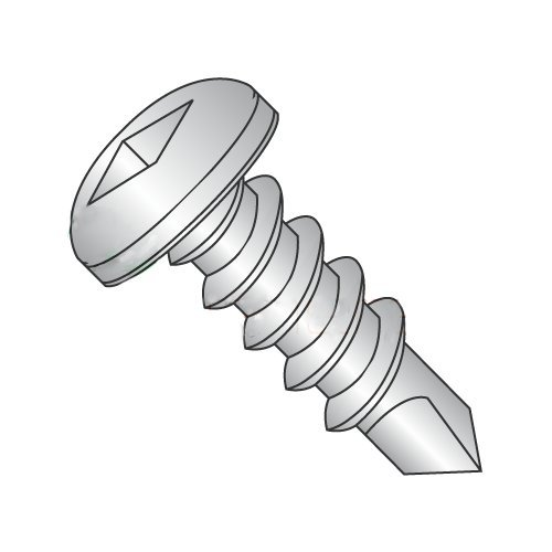 #12 x 2 Self-Drilling Screws/Square/Pan Head / 410 Stainless Steel / #3 Drill Point (Carton: 400 pcs)