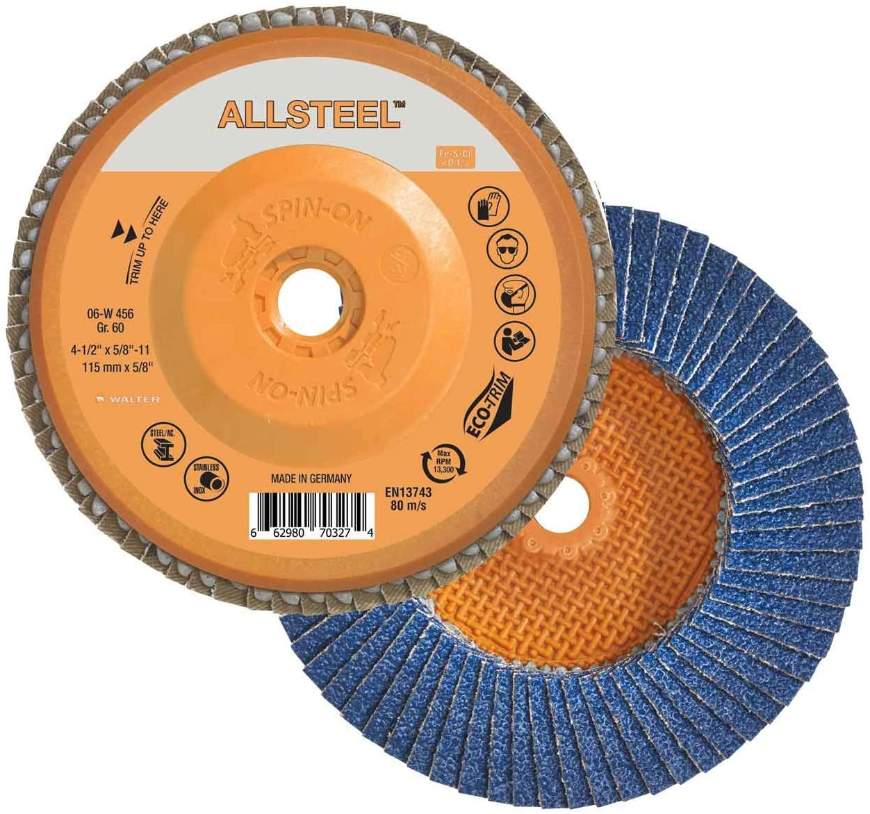 Walter 06W456 4-1/2x5/8-11 ALLSTEEL Flap Disc Spin-On with Eco-Trim Backing 60 Grit Type 27S, 10 pack