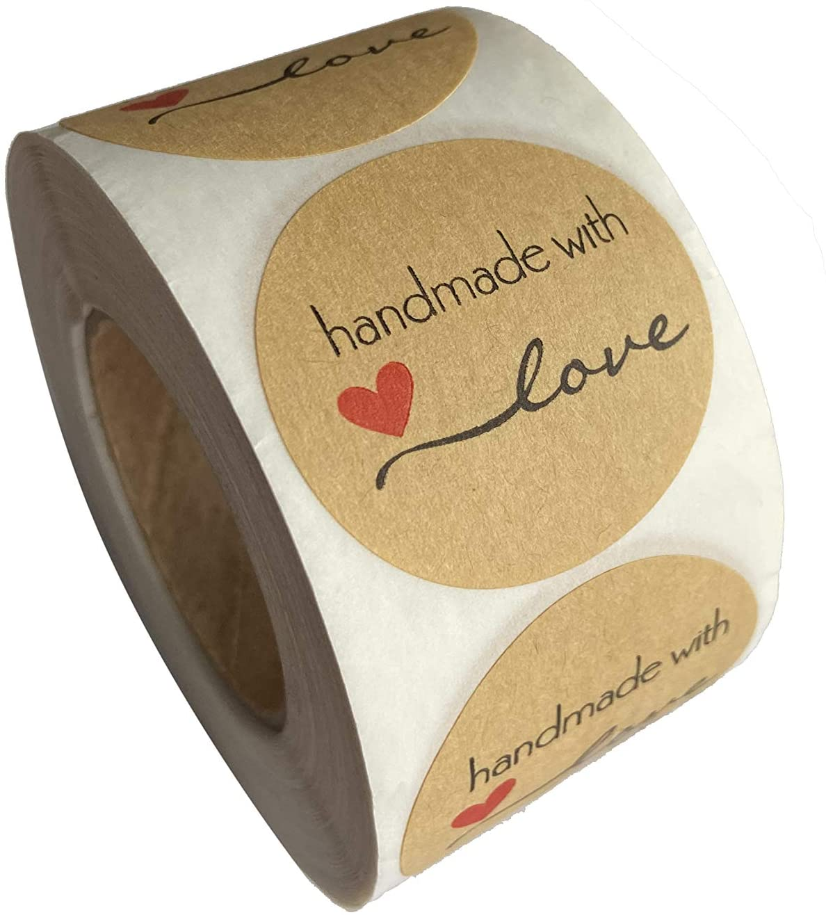 1.5 Inch Round Natural Kraft Handmade with Love Stickers with Black Font 500 Adhesive Labels per Roll