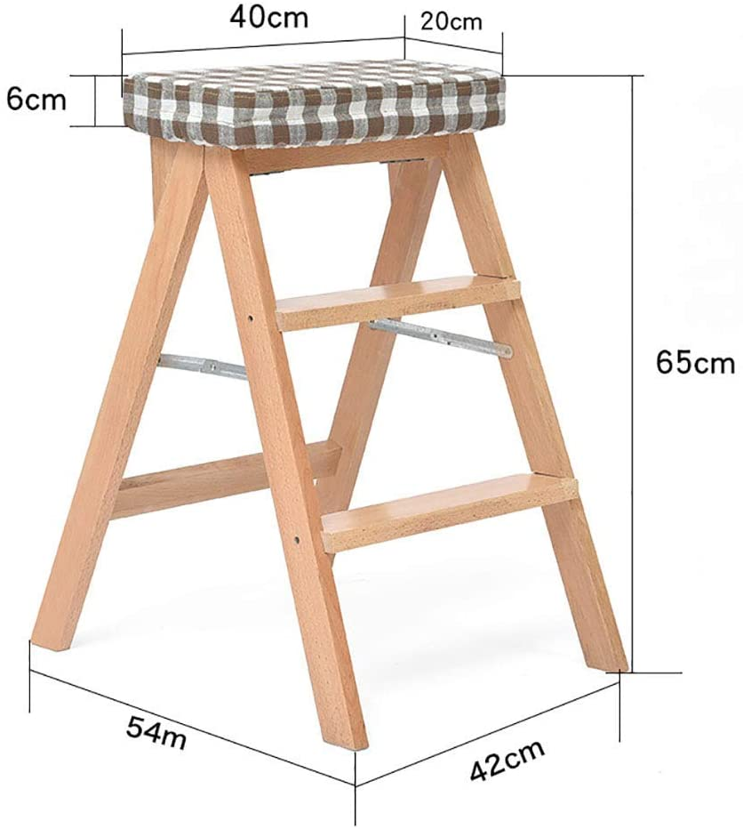 KMMK Household Step Stool, Photography Folding Step Stool, Step Stools Folding Step Stool, 3 Step Stool for Adult, Wooden Step Ladder up to 220Lbs, Washable Cover, 42×54×65Cm, Wood Color/Brown,Brown