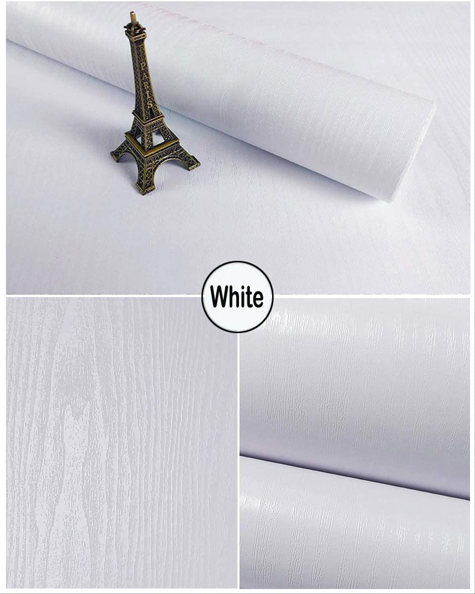 """17.7""""X118""""White Wood Contact Paper Thicken Wood Self Adhesive Paper Peel and Stick Wallpaper Decorative Removable Real Wood Grain Paper Perfectly Wood Look Waterproof Vinyl Roll for Walls Furnitures"""