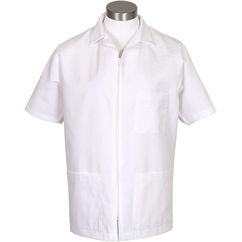 Fame Fabrics 81786 K74 Zip Front Smock, Short Sleeves, White, 3X