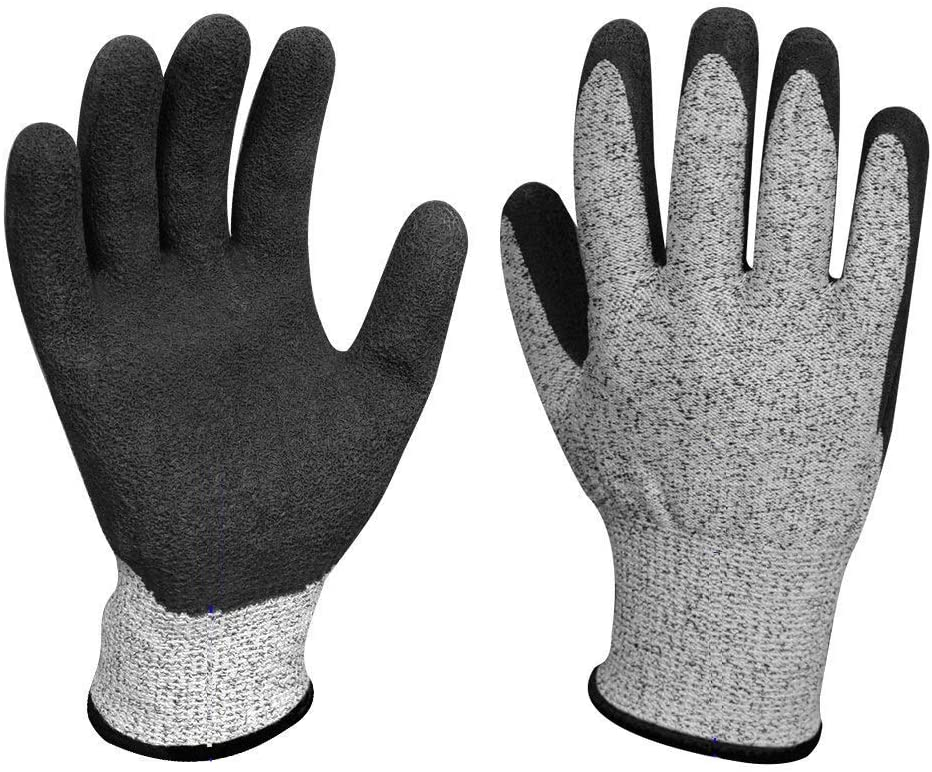 HUBINGRONG PE Dipped Anti-Cut Industrial Gloves HPPE Abrasion-Resistant Garden Working Gloves Level 5 Cut-Resistant Dipped Gloves (Size : Free Size)