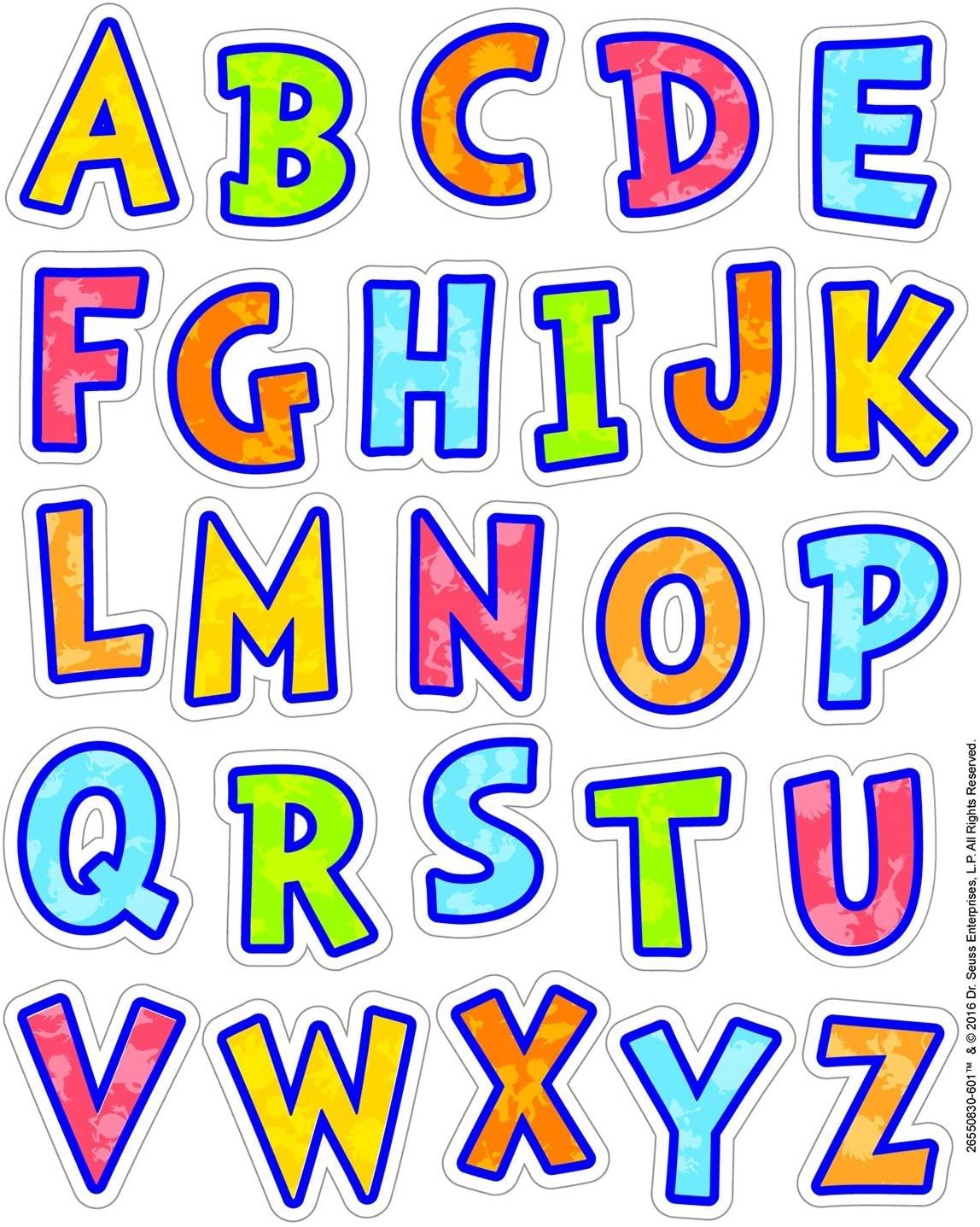 Eureka Back to School Multicolored Dr. Seuss Alphabet Stickers for Kids, 130pc, 1.31'' x 1.75''