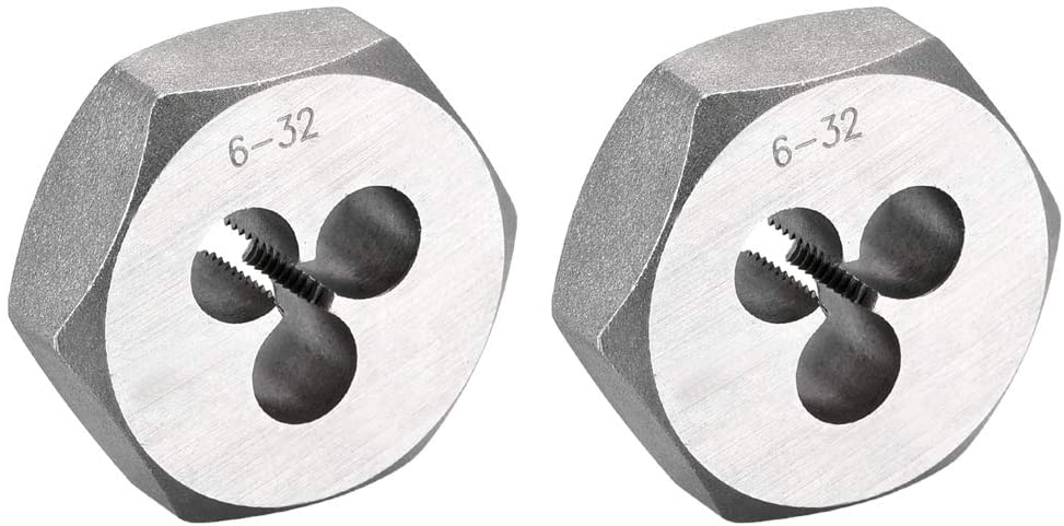 uxcell 6-32 UNC Hex Rethreading Dies, Carbon Steel Hexagon Taper Pipe Die, Accuracy Grade: 2A, 2pcs