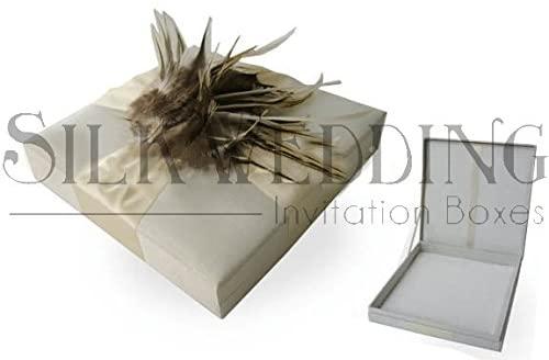 Luxury Padded Silk Wedding Invitation Box with Feather Adornment